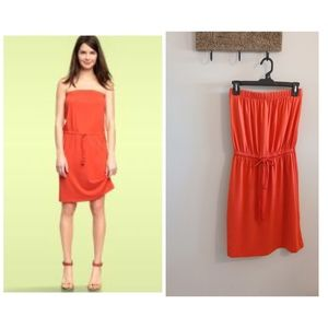 Gap Strapless Drawcord Dress in Hot Coral